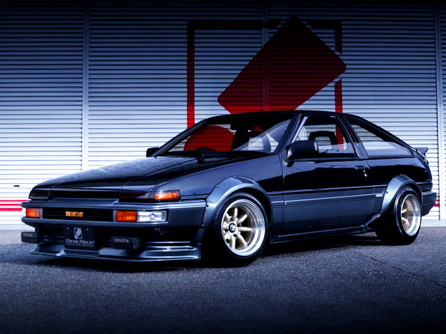 FRONT EXTERIOR AE86 TRUENO WITH BLACK SILVER TWO-TONE
