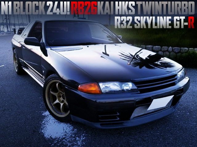 RB26 With N1 BLOCK 24U AND HKS TWINTURBO INTO R32 GT-R BLACK