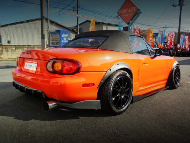 REAR EXTERIOR NB8C MAZDA ROAD STER WITH WIDEBODY AND ORANGE PAINT