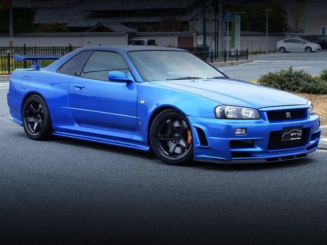 FRONT EXTERIOR R34 SKYLINE GT-R V-SPEC WITH MIDNIGHT BLUE