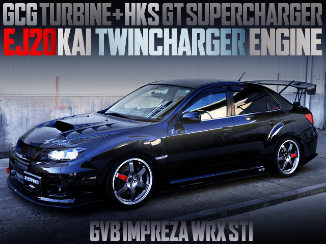 EJ20 with GCG TURBO AND HKS SUPERCHARGER INTO A GVB WRX STI BLACK
