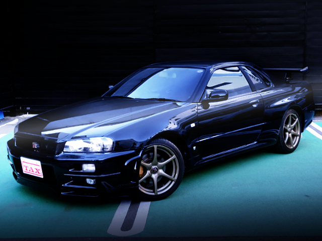 FRONT EXTERIOR OF R34 SKYLINE GT-R TO BLACK COLOR