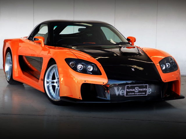 FRONT EXTERIOR OF VeilSide FORTUNE RX7 ORANGE BLACK TWO-TONE