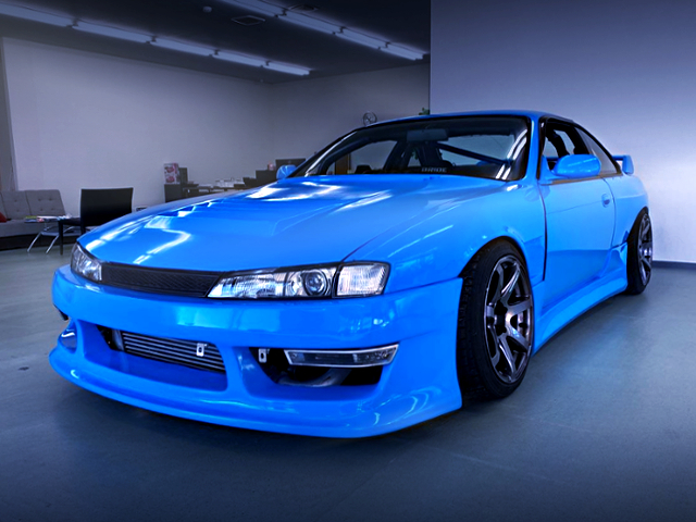 FRONT EXTERIOR OF S14 SILVIA TO LIGHT BLUE