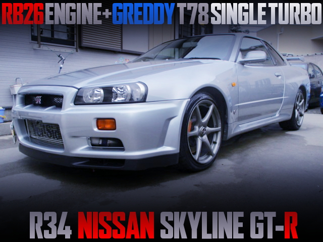 RB26 With T78 SINGLE TURBO INTO R34 SKYLINE GT-R SILVER