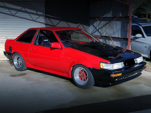 FRONT EXTERIOR AE86 LEVIN RED PAINT