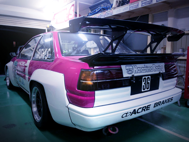 REAR EXTERIOR OF AE86 LEVIN RACE CAR
