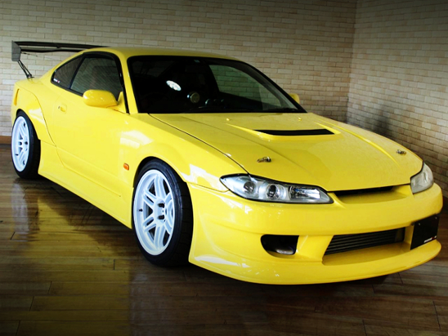 FRONT EXTERIOR OF S15 SILVIA WIDEBODY AND YELLOW