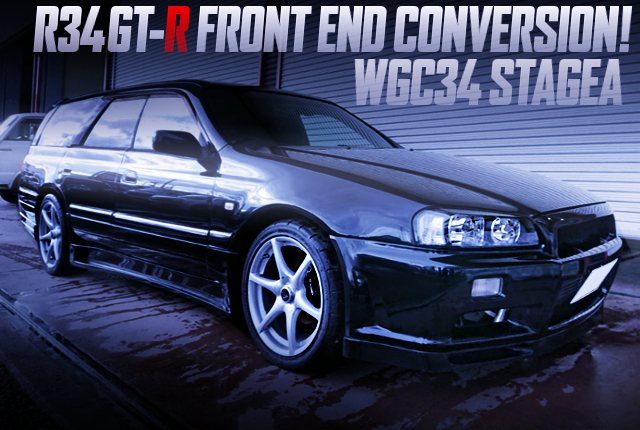 R34 GT-R FRONT END CONVERSION TO WGC34 STAGEA TO BLACK COLOR