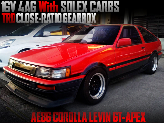 16V 4AG with SOLEX CARBS INTO A AE86 LEVIN GT-APEX TO RED AND BLACK TWO-TONE