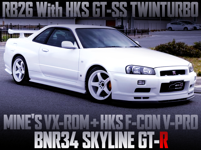 HKS GT-SS TWINTURBO With VX-ROM AND F-CON V-PRO OF R34 GT-R WHITE