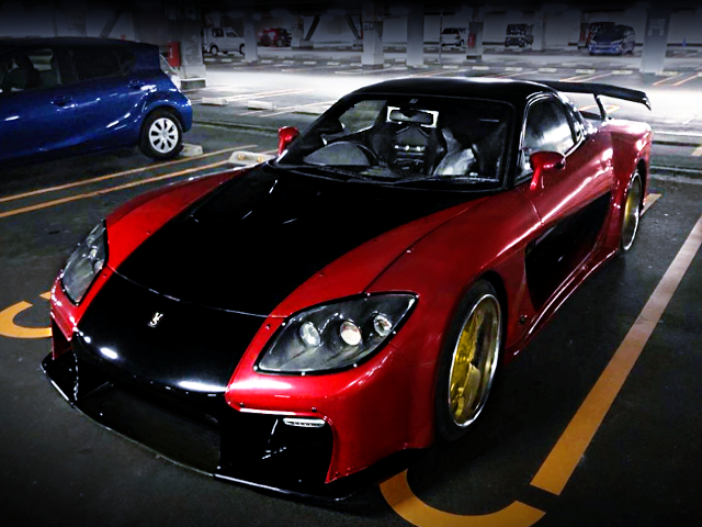 FRONT EXTERIOR OF VeilSide FORTUNE RX7 TO RED AND BLACK TWO-TONE