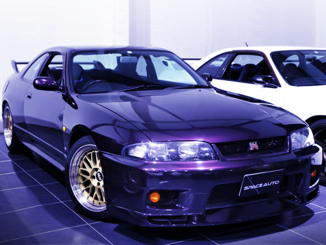FRONT EXTERIOR OF R33 GT-R V-SPEC PURPLE
