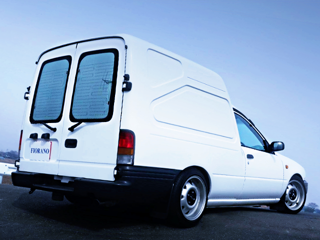 REAR EXTERIOR OF SLAMMED AND BAGGED Y10 NISSAN AD-MAX VAN