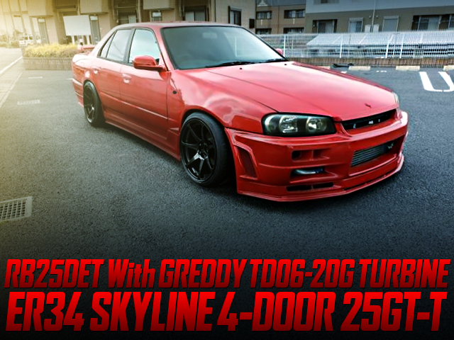 RB25DET with TD06-20G TURBO AND 5MT into ER34 SKYLINE 4-DOOR RED.