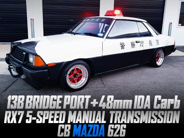 13B BRIDGEPORT With 48mm IDA CARB INTO MAZDA 626 TO JAPAN POLICE CAR THEME CUSTOM.