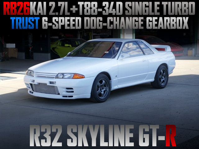 RB26 2700cc T88-34D SINGLE TURBO AND 6-SPEED DOGBOX INTO R32 GT-R