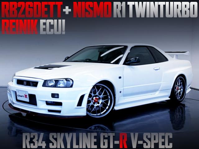 NISMO R1 TWINTURBO AND REINIK ECU With R34 GT-R V-SPEC
