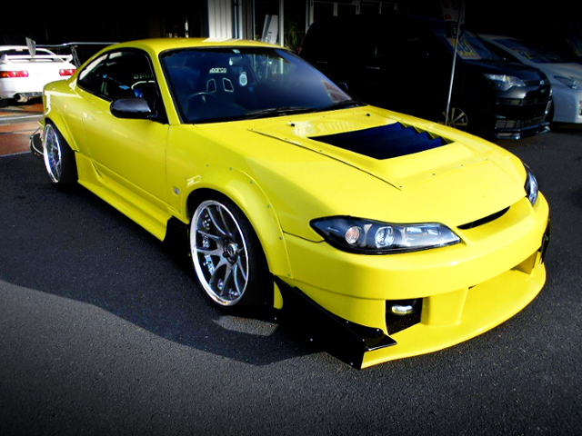 FRONT EXTERIOR OF S15 SILVIA WIDEBODY YELLOW