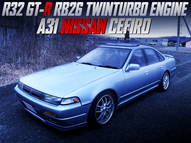 R32 GT-R RB26 ENGINE,5MT,BRAKES FULL SWAPPED A31 CEFIRO SILVER.