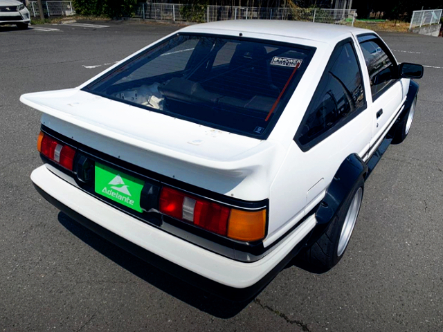 REAR EXTERIOR OF AE86 LEVIN GT-APEX WIDEBODY.