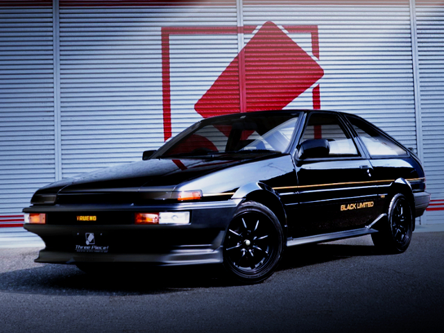 FRONT EXTERIOR OF AE86 TRUENO BLACK LIMITED.