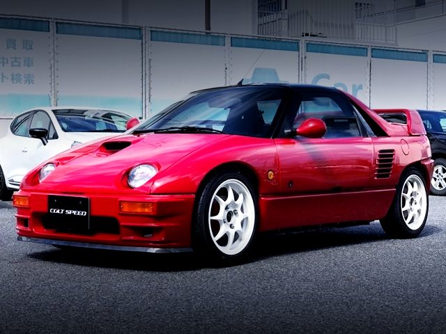 FRONT EXTERIOR OF MAZDA AUTOZAM AZ-1 RED.