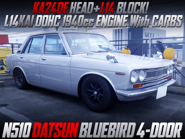 KA24DE DOHC HEAD ON L14KAI 1940cc ENGINE With CARBS AND 71B 5MT OF N510 DATSUN BLUEBIRD 4-DOOR.