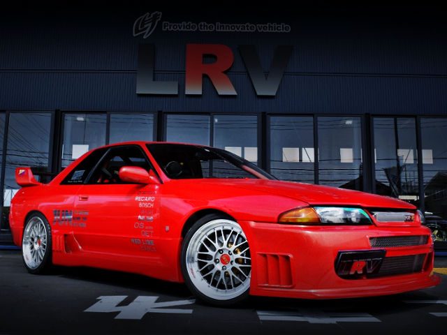 FRONT EXTERIOR OF R32 GT-R RED METALLIC PAINT.
