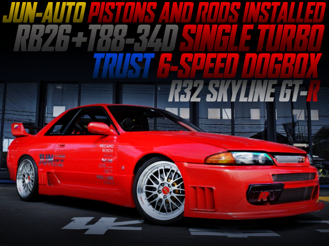 RB26 With T88-34D TURBO AND TRUST DOG BOX INTO AN R32 GT-R RED METALLIC PAINT.