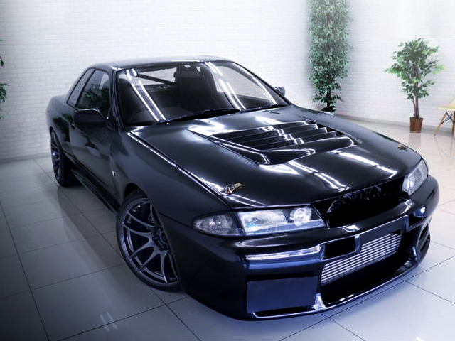 FRONT EXTERIOR OF R32 GT-R BLACK.