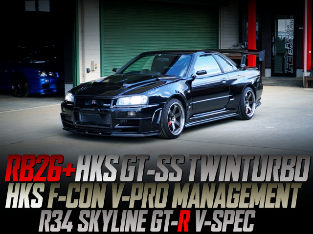 RB26 With GT-SS TWIN TURBO AND F-CON V-PRO OF R34 GT-R V-SPEC TO BLACK.