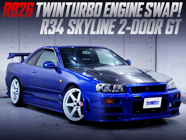 RB26DETT AND 5MT SWAPPED OF R34 SKYLINE 2-DOOR GT BLUE METALLIC.
