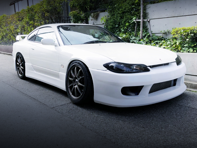 FRONT EXTERIOR OF S15 SILVIA WHITE.