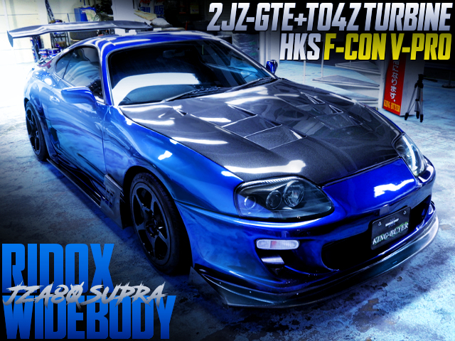 TO4Z TURBO AND RIDOX WIDEBODY BULIT TO JZA80 SUPRA RZ BLUE COLOR.