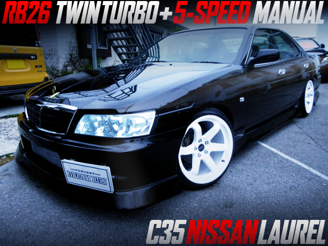 RB26 TWINTURBO And 5MT SWAPPED C35 LAUREL BLACK.