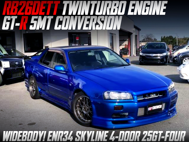 RB26DETT AND GTR 5MT SWAPPED ENR34 SKYLINE 4-DOOR 25GT-FOUR WIDEBODY.