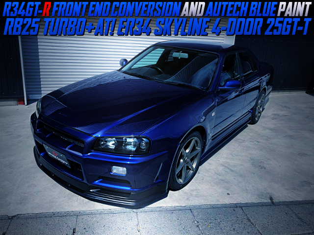 R34 GT-R FRONT END AND AUTECH BLUE PAINT CUSTOMS OF ER34 SKYLINE 4DR 25GT-R