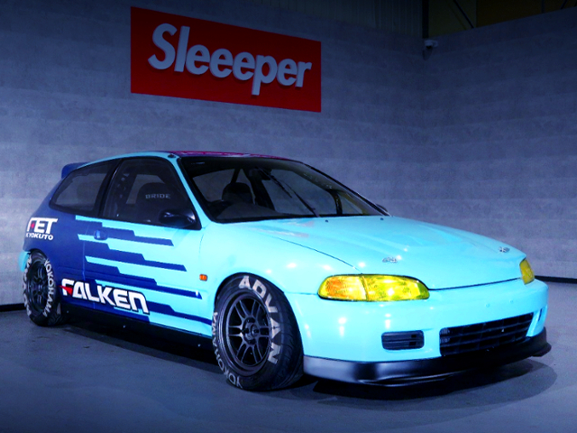 FRONT EXTERIOR OF FALKEN COLOR EG6 CIVIC SiR2.