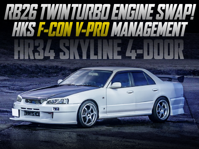 RB26DETT ENGINE AND F-CON V-PRO WITH HR34 SKYLINE 4-DOOR.