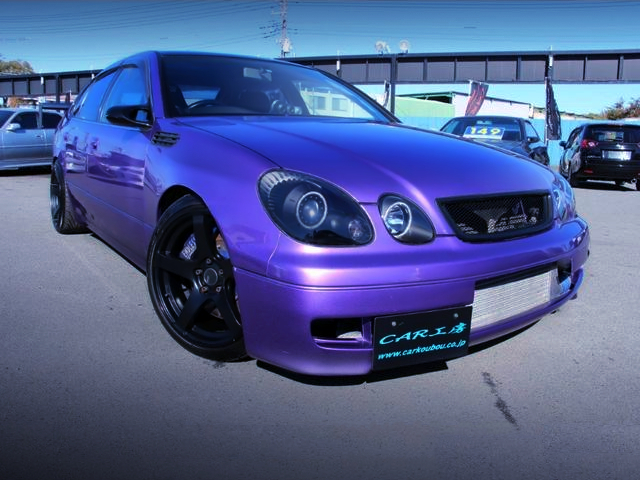 FRONT EXTERIOR OF JZS161 ARISTO V300 PURPLE.