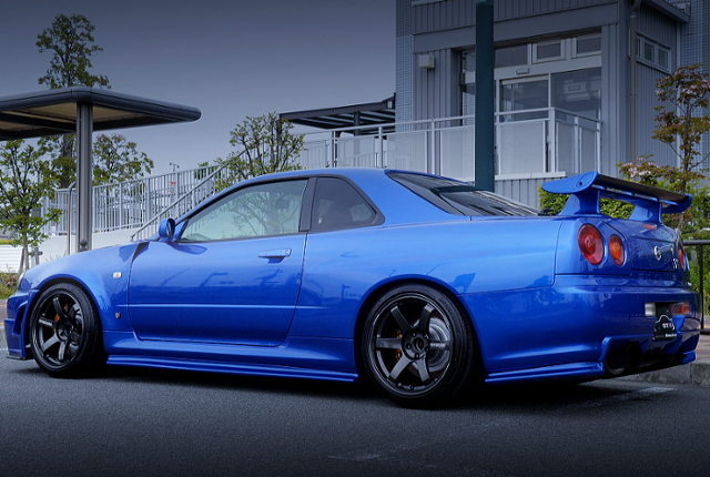 REAR EXTERIOR OF R34 GT-R V-SPEC2 Nur TO BAYSIDE BLUE Color.