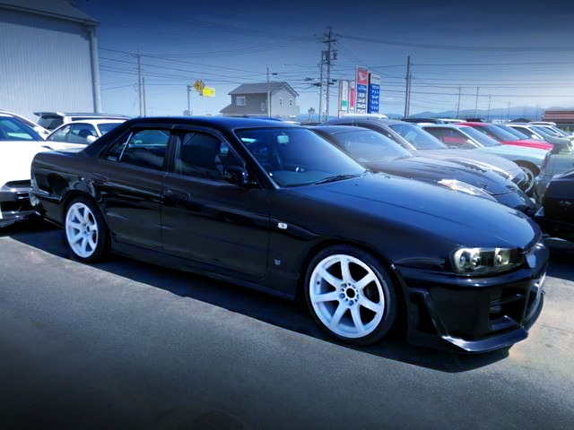 FRONT RIGHT-SIDE EXTERIOR OF ER34 SKYLINE 4-DOOR 25GT-V TO BLACK.