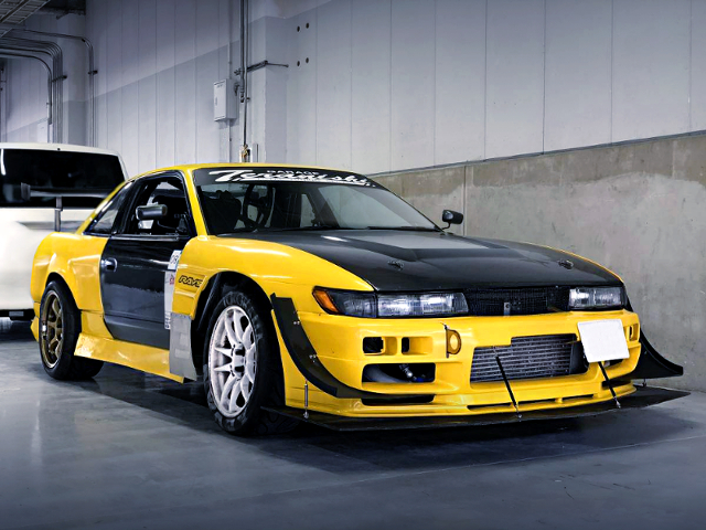 FRONT EXTERIOR OF S13 SILVIA YELLOW.