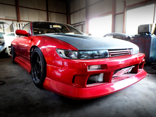 FRONT EXTERIOR OF S13 SILVIA RED.