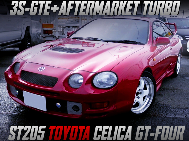 AFTERMARKET TURBO ON 3SGTE INTO ST205 CELICA GT-FOUR RED.