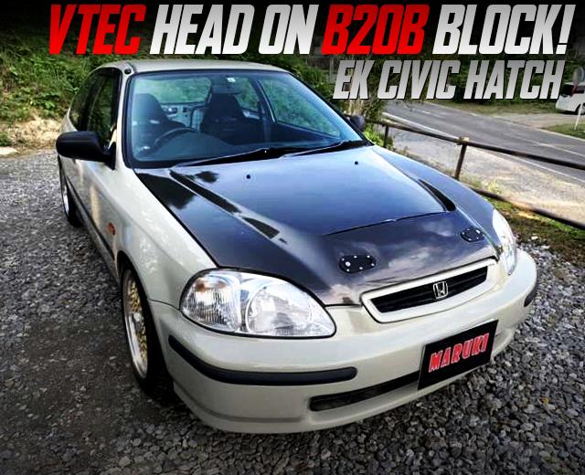 VTEC HEAD ON B20B BLOCK INTO EK CIVIC HATCH.