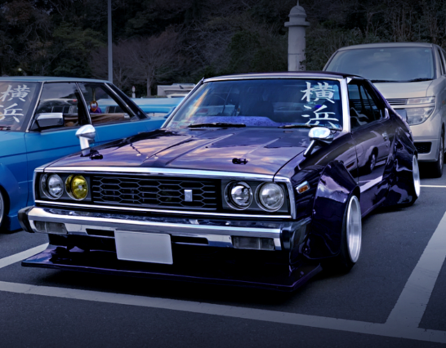 FRONT EXTERIOR OF HGC211 SKYLINE JAPAN With MIDNIGHT PURPLE.