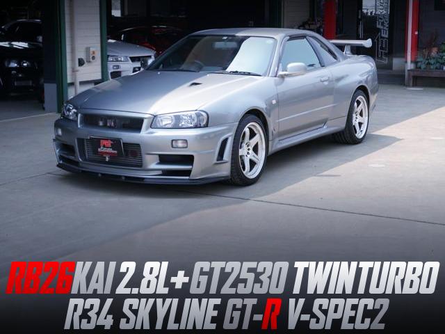 FULLY BUILT RB26 2.8L GT2530 TWIN TURBO INTO R34 GT-R V-SPEC2.