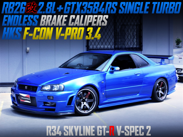 RB26 2.8 LITER AND GTX3584RS SINGLE TURBO INTO R34 GT-R V-SPEC2 BLUE.